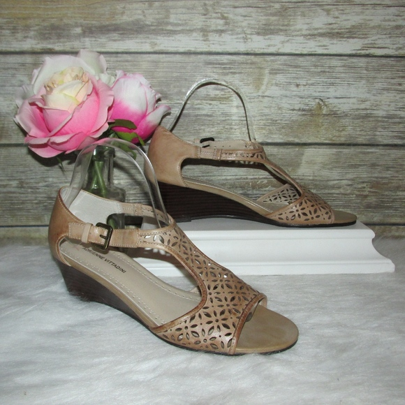 7f4a8ccf8ad0a Adrienne Vittadini Cailyn Brown Wedge Sandals